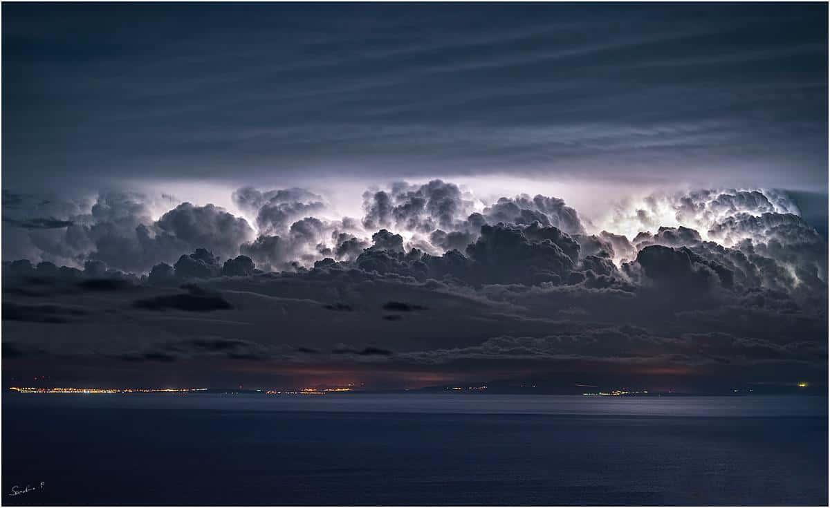 The eruption of clouds over the mountain... 15.2.2016. island Lošinj /Croatia