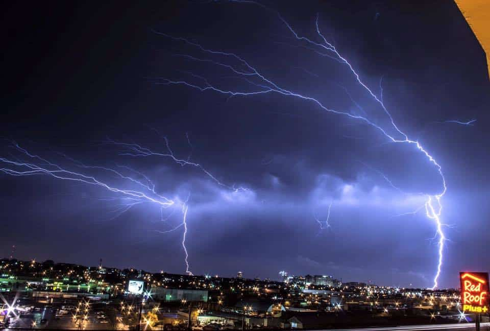 An incredible image of a skyline and lightning in Saint Louis, Missouri behind a line of severe storms!!