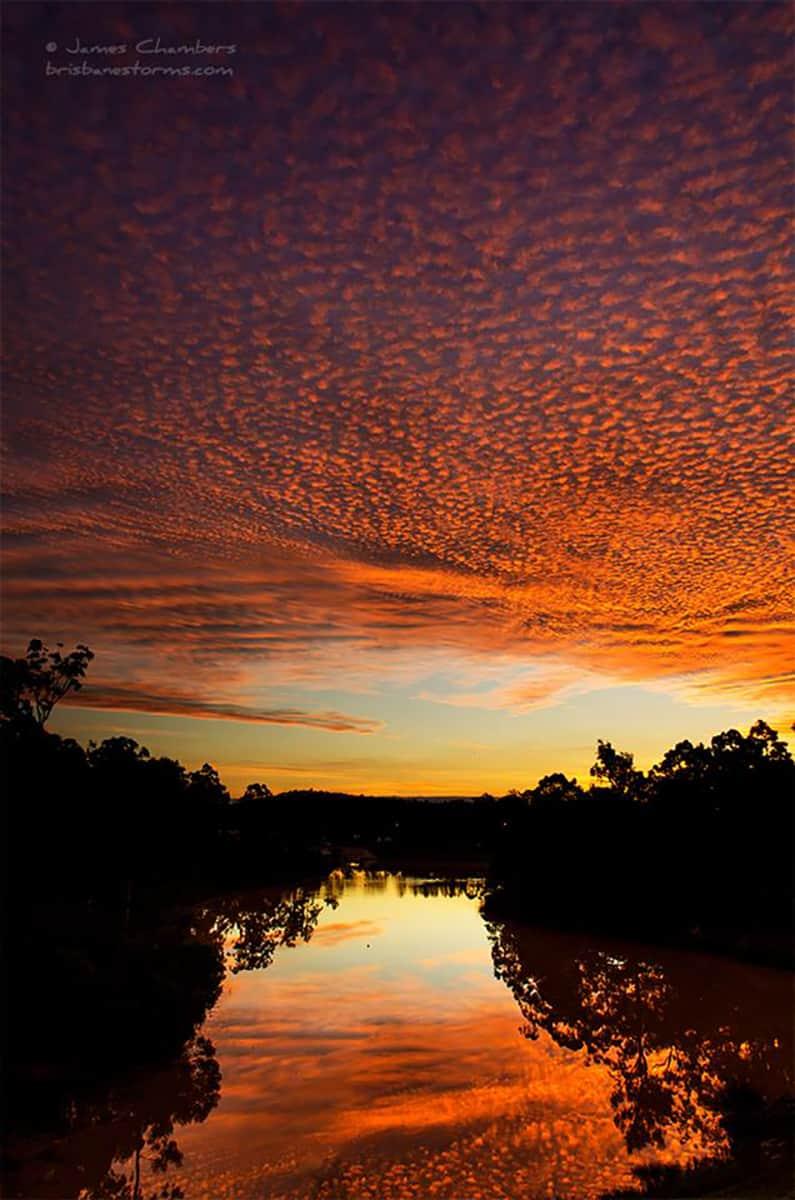 Beautiful mackerel sky (altocumulus) sunset over Springfield Lakes, Australia in May 2015.