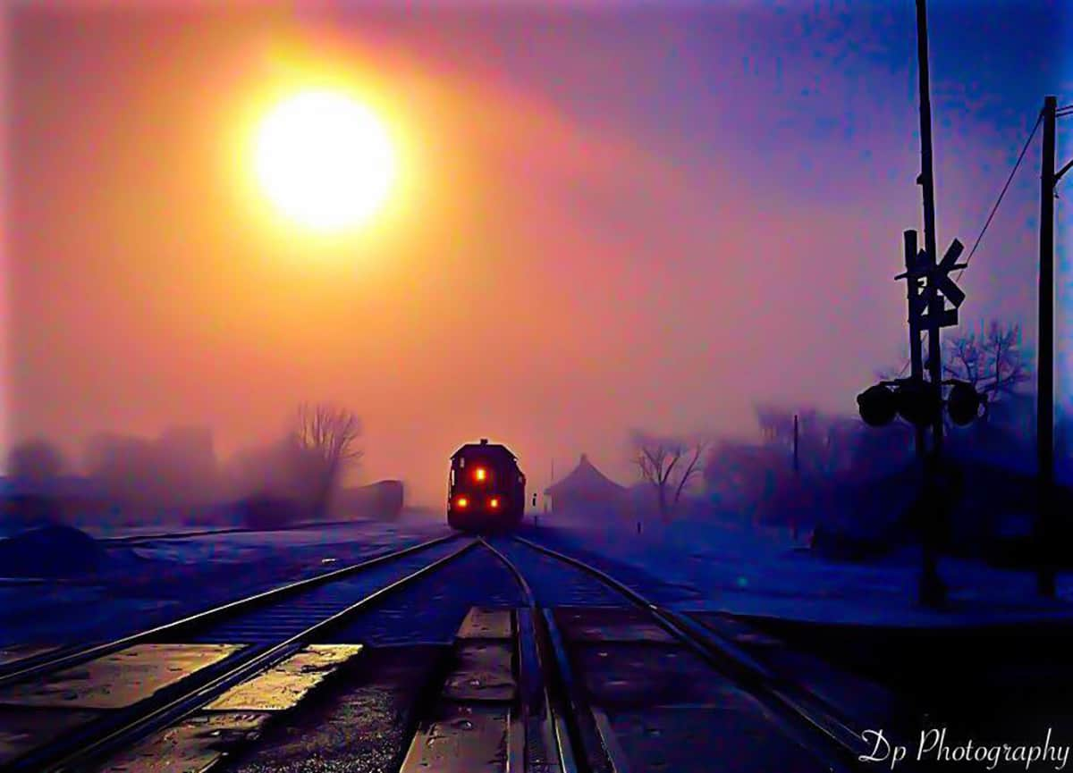 Polar Express foggy cold morning parked in wells Mn.