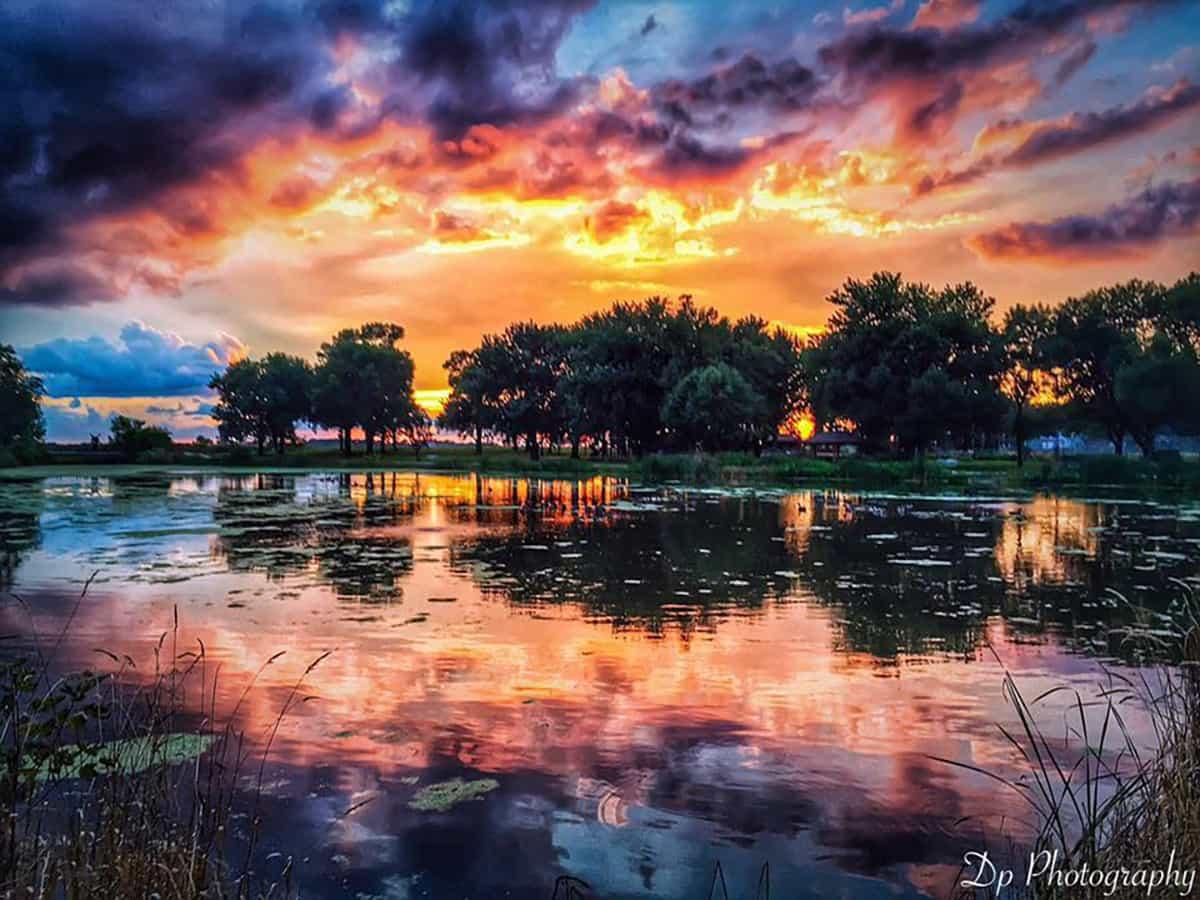 Sunset taken in Minnesota lake last summer reflections