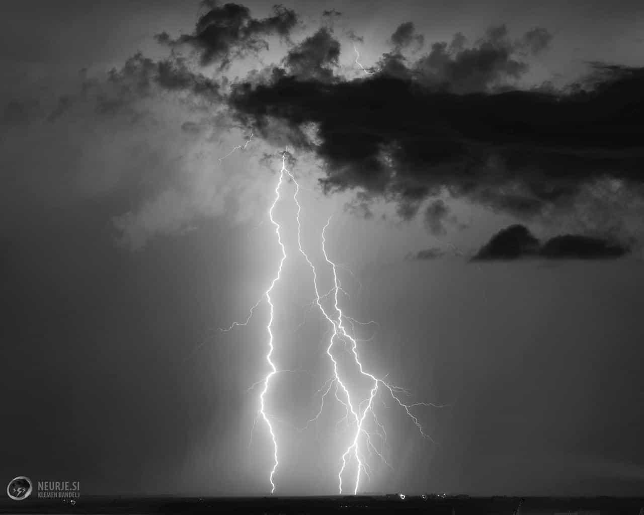 B&W lightning from last summer in SW Slovenia