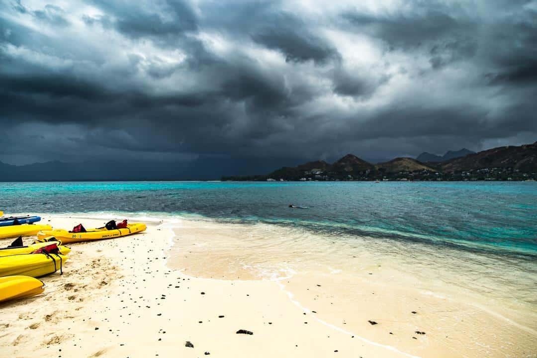 Even on gloomy days, lucky we live Hawaii.  Kailua, O'ahu. Hawaii