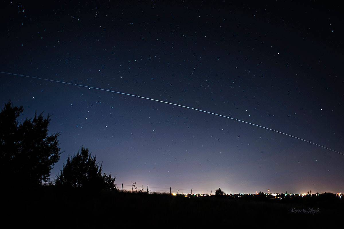 Clear skies last night made for great viewing of the International Space Station as it came over Amarillo. 8 images stacked in PSCS6.