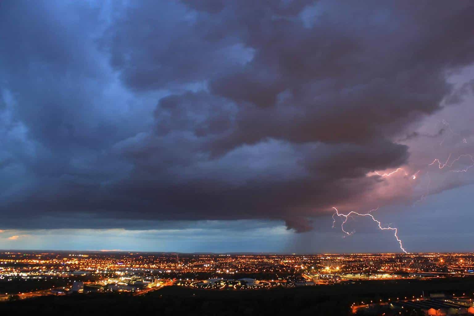 Lightning strike over Toulouse, France - 12th April 2016.