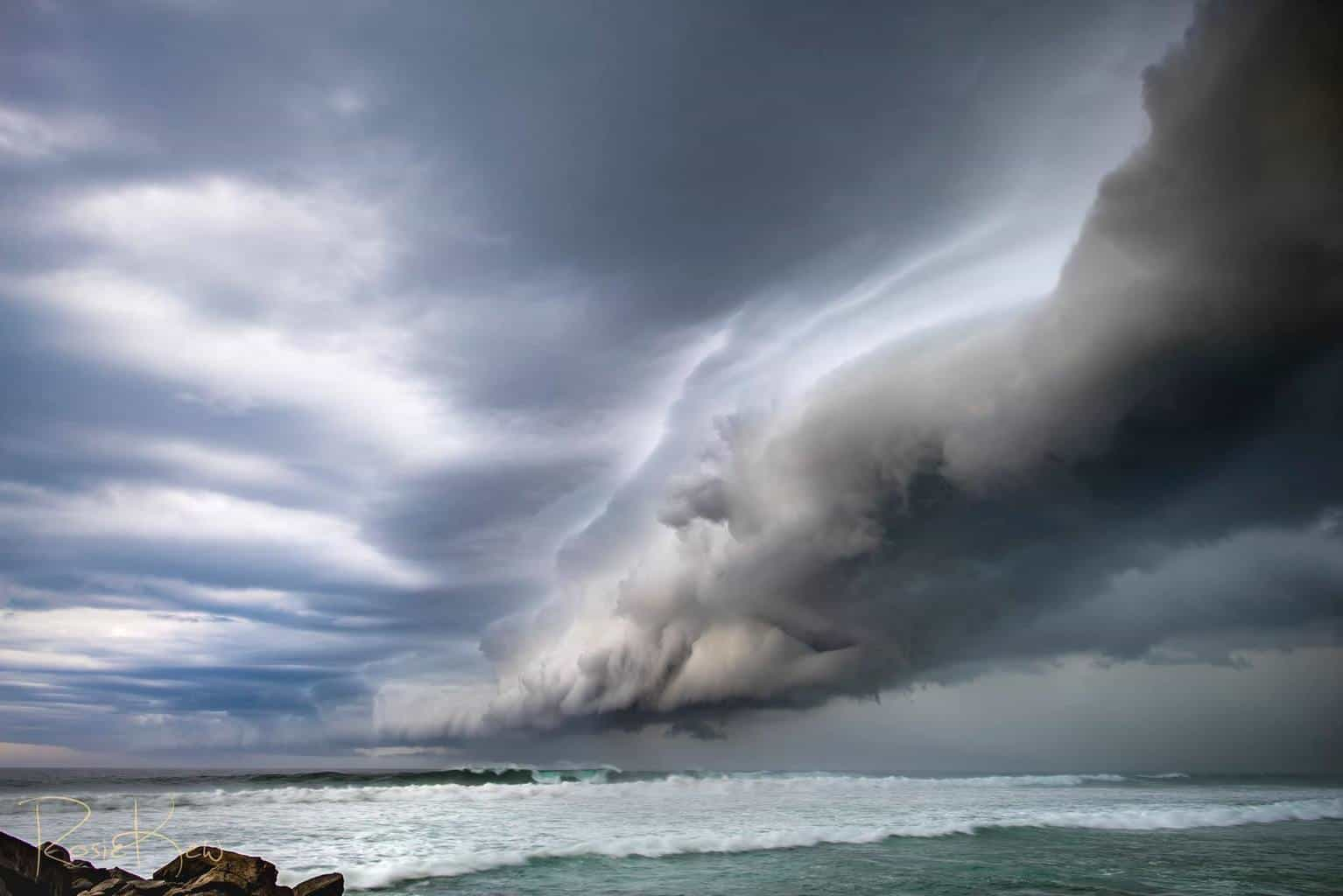 23rd January 2016 saw a lovely shelf cloud wander over Ballina Northern NSW Australia with the passage of a strong cold front moving up the east coast. It was spectacular as it passed over with a theatre curtain like appearance to the cloud...