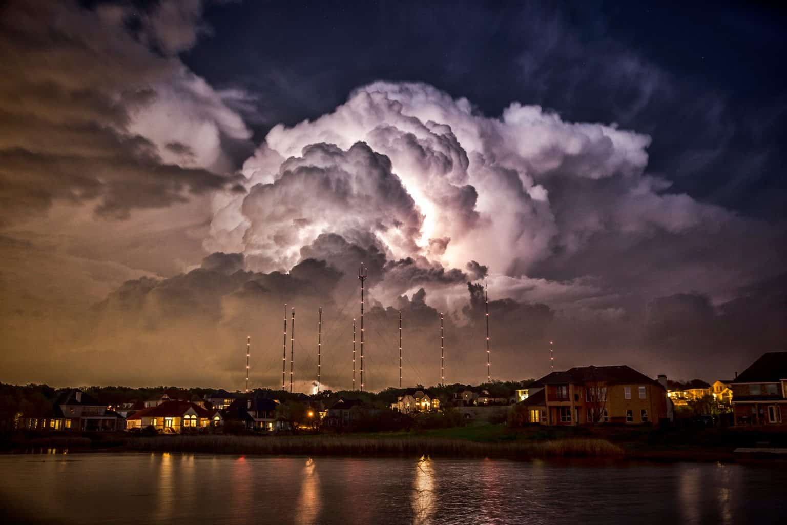 An incredible storm full of lightning passes over the Cedar Hill, Tx towers. 4/3/14