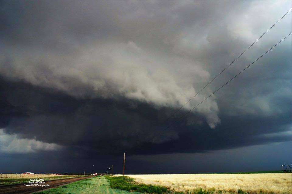 Storm South of Stratford, TX that eventually put down a few tornados in the OK Panhandle.
