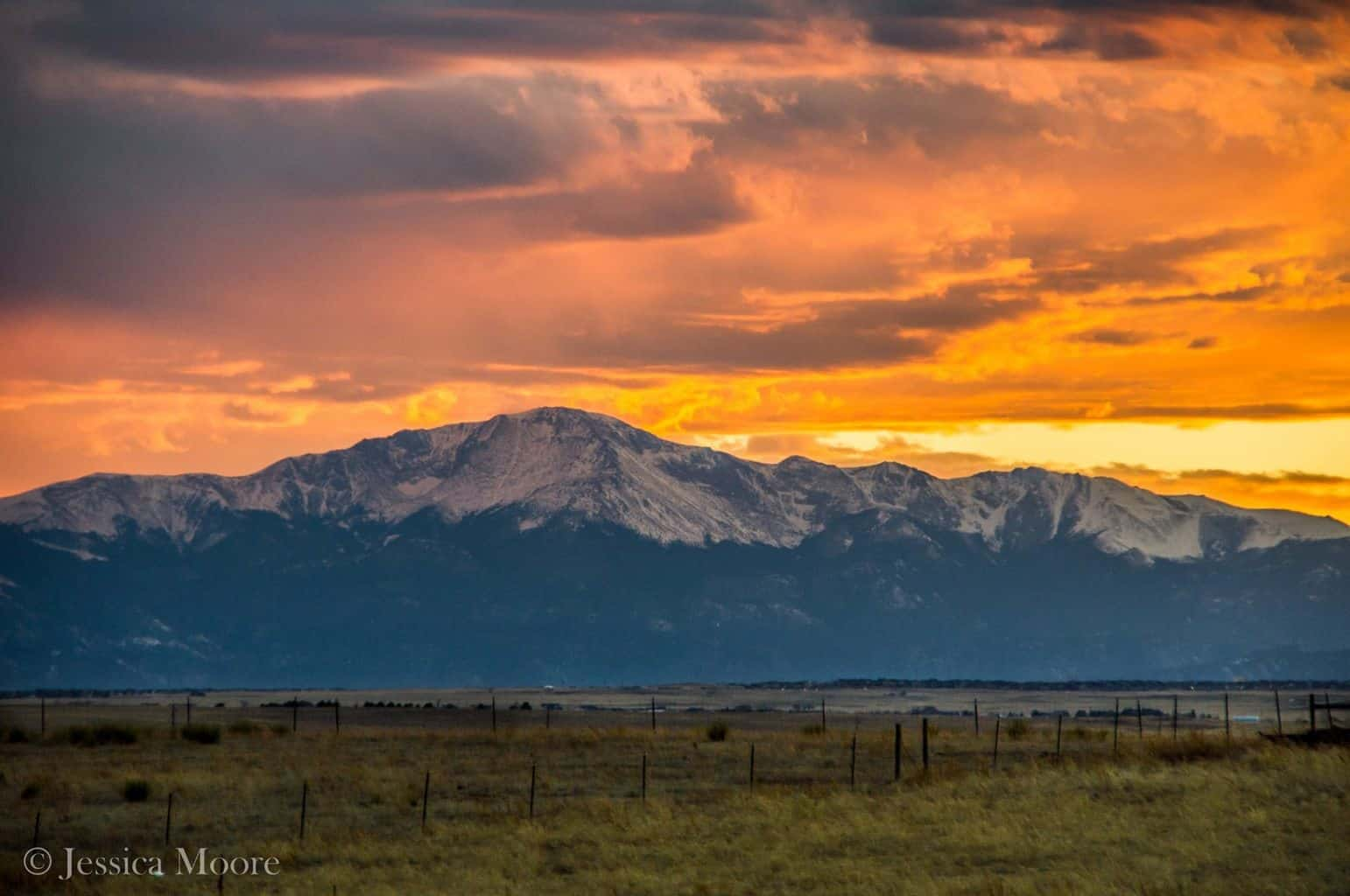 We were treated to a stunning sunset over Pikes Peak this evening in Colorado Springs.