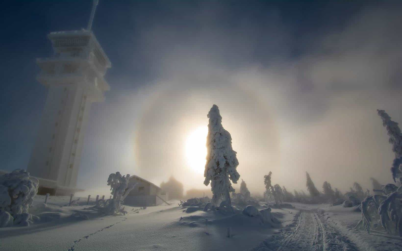 Diamond dust halo, -13 °C and snow, czech republic 19.1.2016