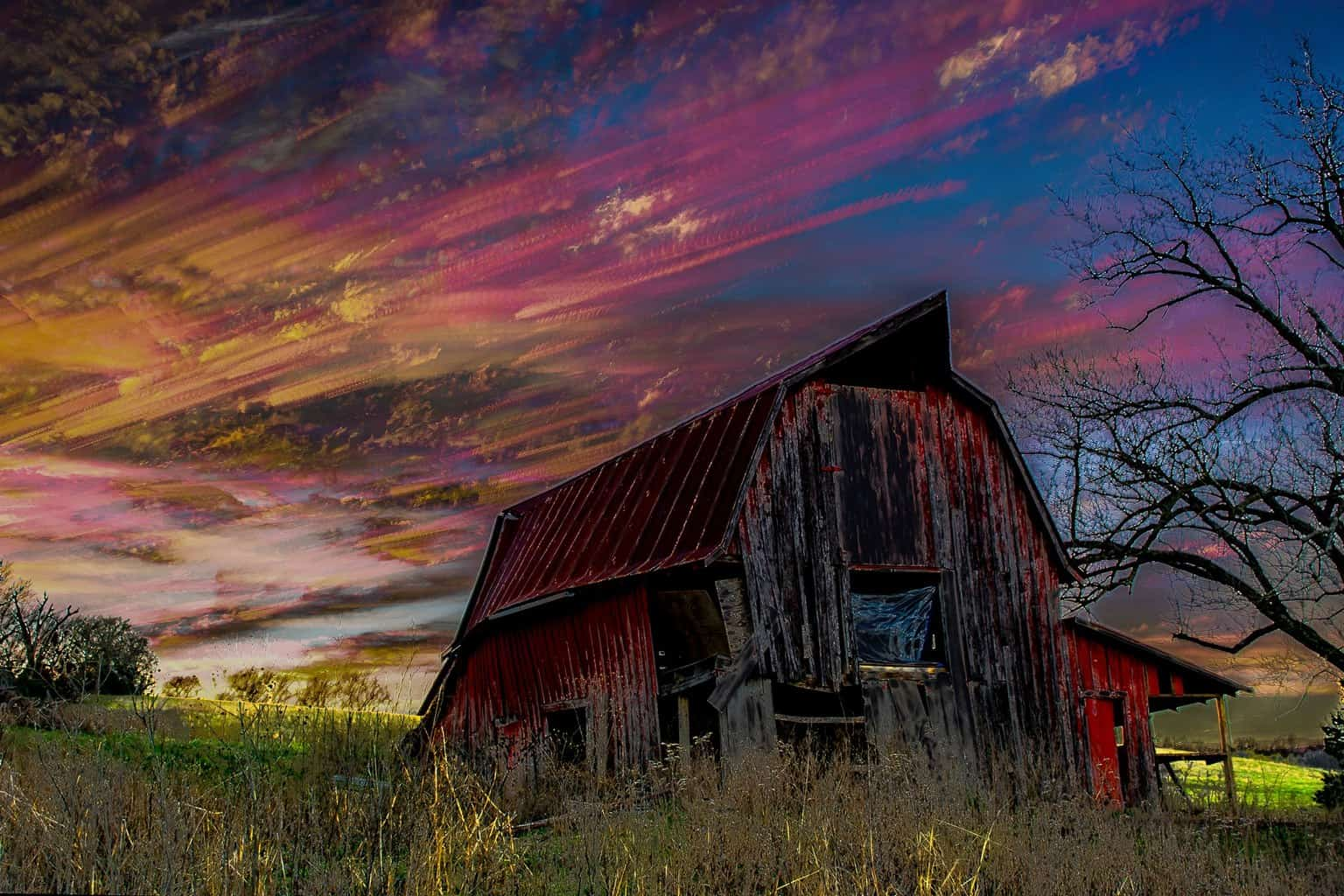 Playing around with this barn pic again I decided to stack all 219 images as the Sun was setting behind the barn, you can see the motion and show the colors change in the clouds as time passes.
