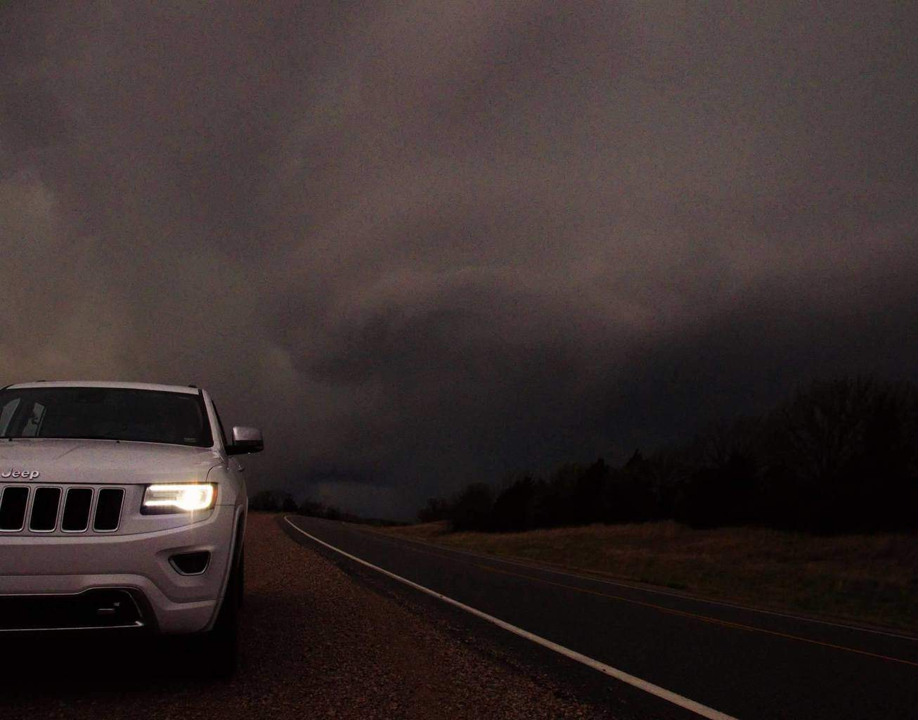 My chase vehicle beckoning a mesocyclone in northern oklahoma 3/30/16