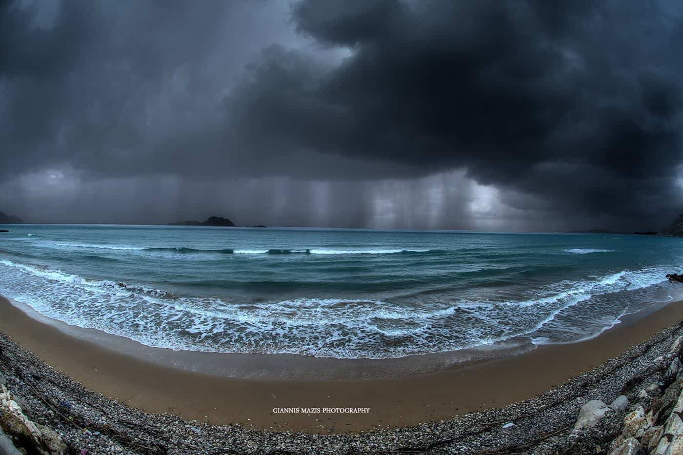 stunning storm in arillas beach corfu island greece!!