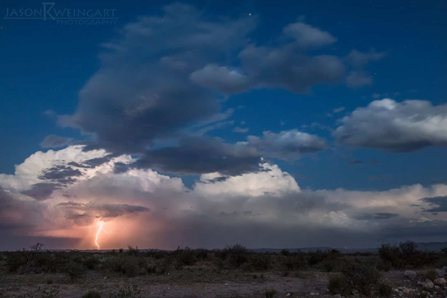 Told participants at my astrophotography workshop on Thursday that we had a chance of lightning beneath stars the following night. Big Bend delivered. Supercell at twilight on Friday evening outside of Alpine, Texas.