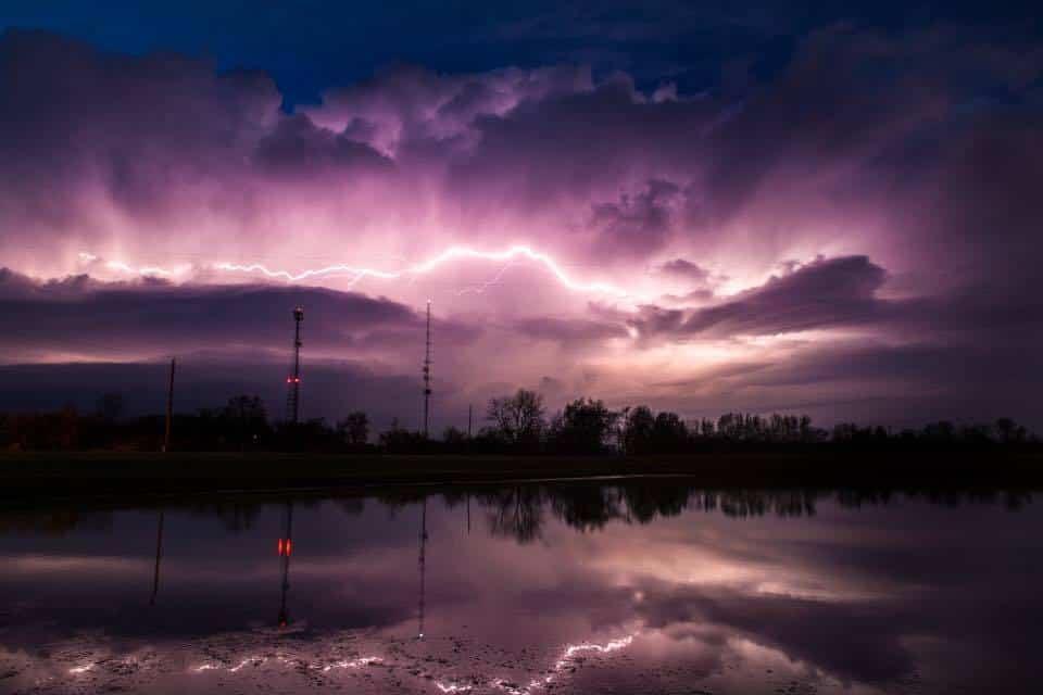 Tonight over central Indiana. Purple Rain.