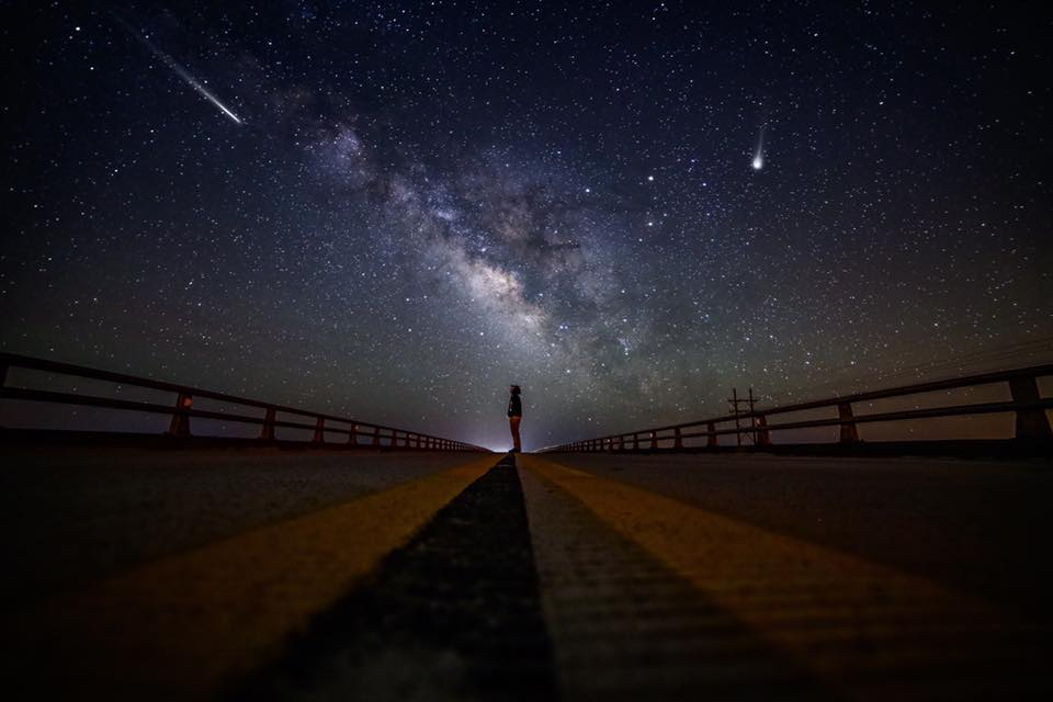 No composition here, just hanging out under the night sky last night. Topsail Island, North Carolina!