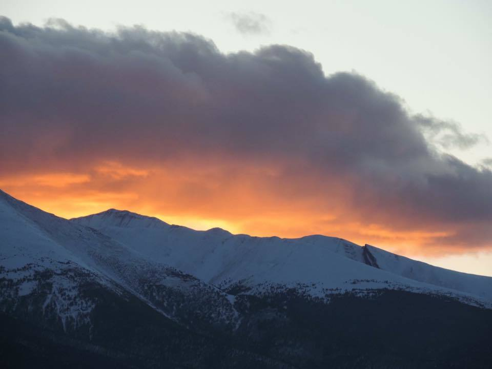 From my back porch last night looking at Sangre De Cristo mountains from Westcliffe, CO.