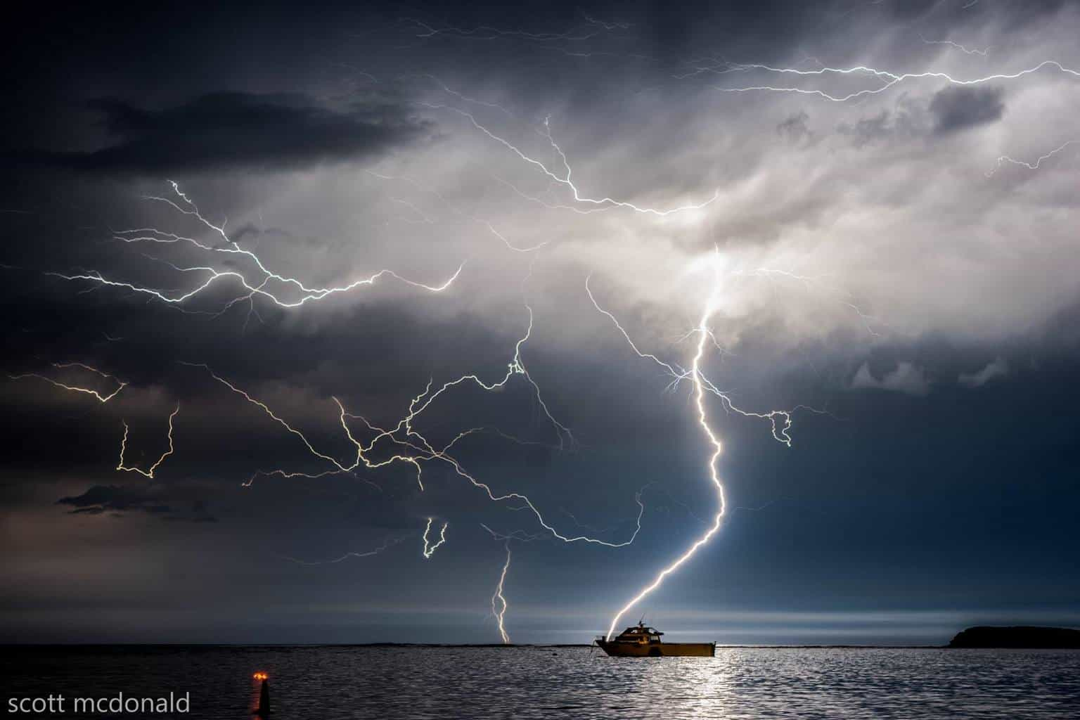 offshore storm was delivering some awesome bolts the other night including this one which almost looks like it struck the boat