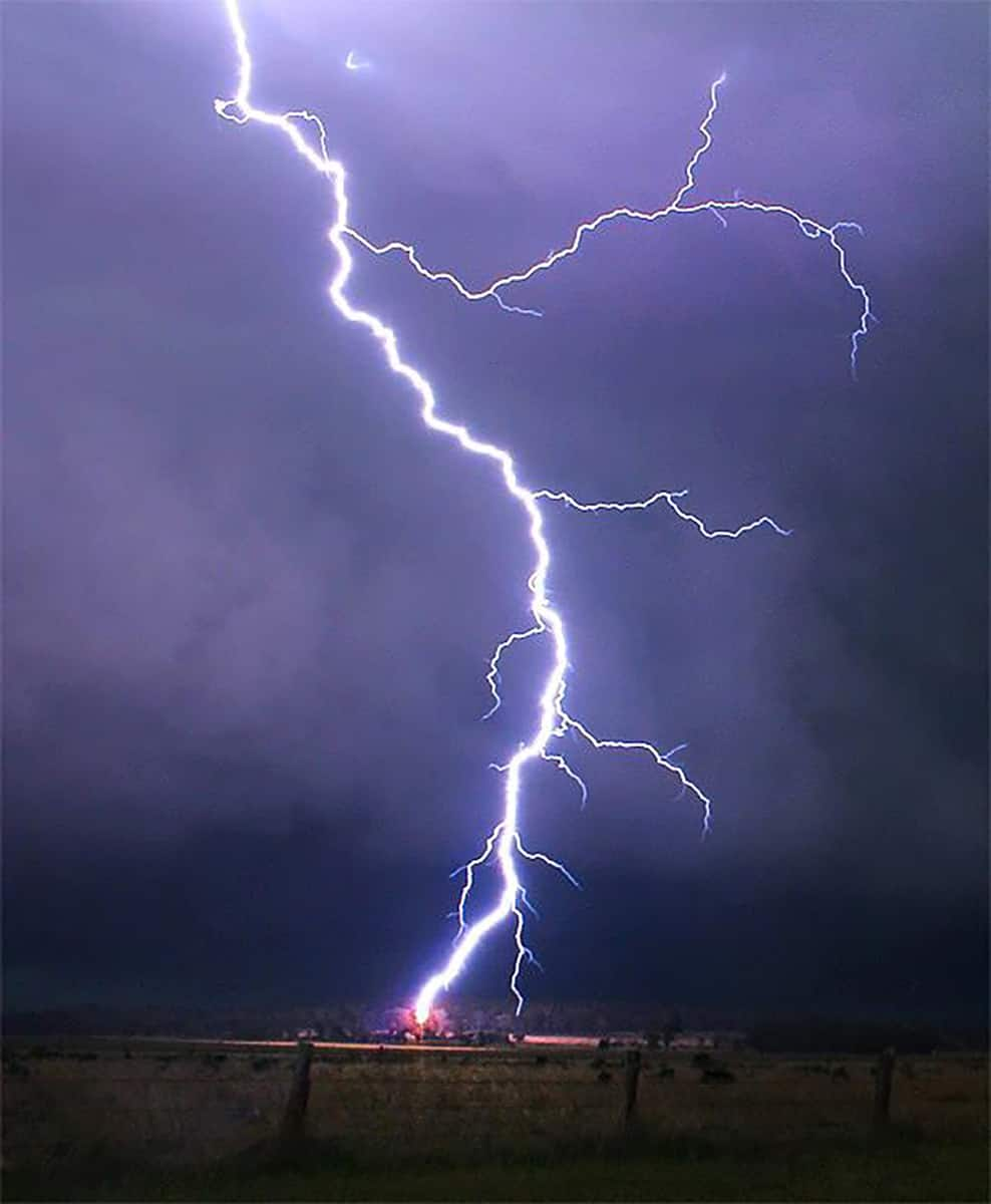 One of many incredible close lightning strikes experienced on an intense storm chase near Oakey, Queensland, Australia on November 17th 2012.