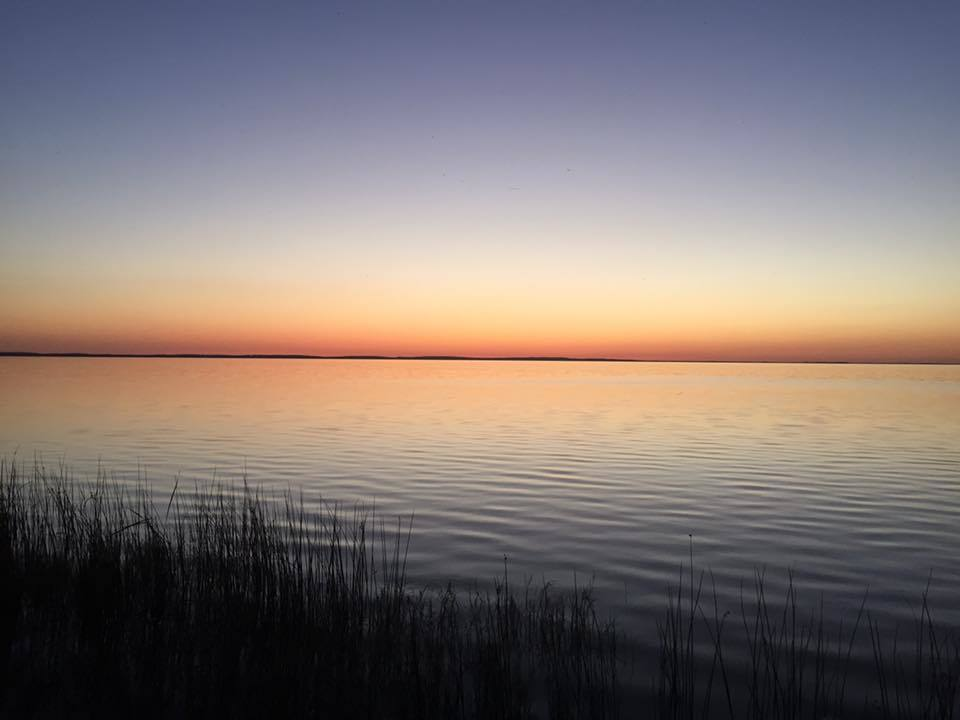 Yesterday evening just after sunset...clear skies and calm waters.