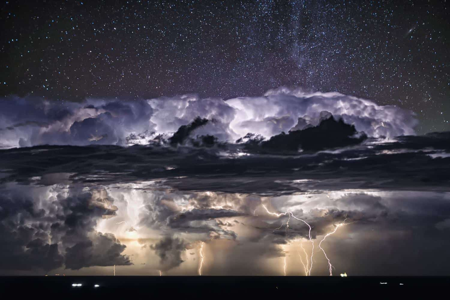 ..Nightscape Lightning Storm Amazing night chase over the adriatic sea, huge thunderstorm from Ancona to Venezia. Absolutely the most beautiful and spectacular storm i ever seen in my life. You can see also a waterspout in the lower left. From Fiorenzuola di Focara,Italy,  19 August 2015.
