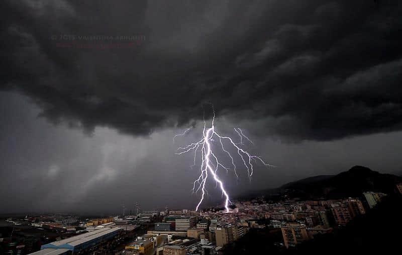 Lightning over Genova, Italy (video frame). August 15th 2015.