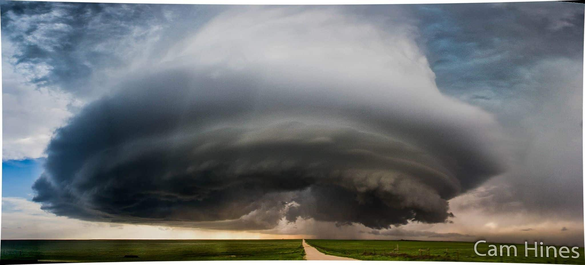 The Simla supercell just as it began it's outflow stage on June 4 last year.  5 vertical photos stitched into a pano, some of the stitch marks are still visible but it's the best I could do... Crazy storm!