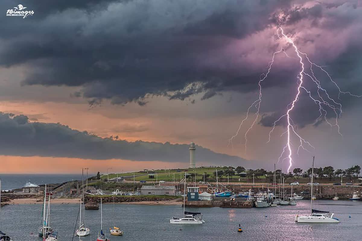 Lightning storm over Wollongong Harbour, Australia