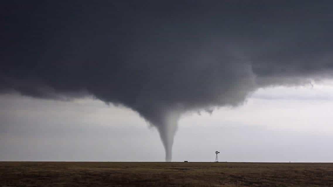 Beautiful Tornado next to an Oklahoma Panhandle Windmill.