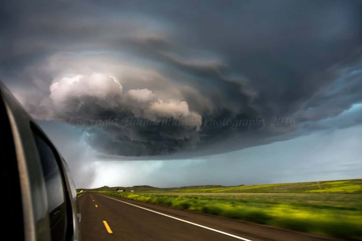 Check out the instability waves!!! This supercell dropped large hail at Broadus, Montana on June 17th 2015.
