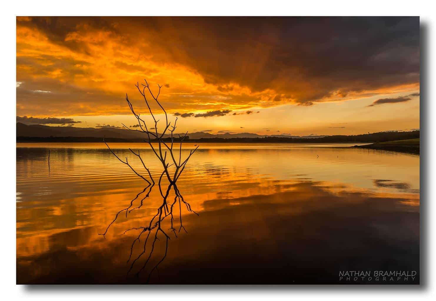 Stunning sunset taken at Lake Samsonvale, QLD. Australia on Thursday. Shot taken with a Canon 5D MkIII + 35mm Lens.  1/25 sec / f11 / ISO 100 (No filters)