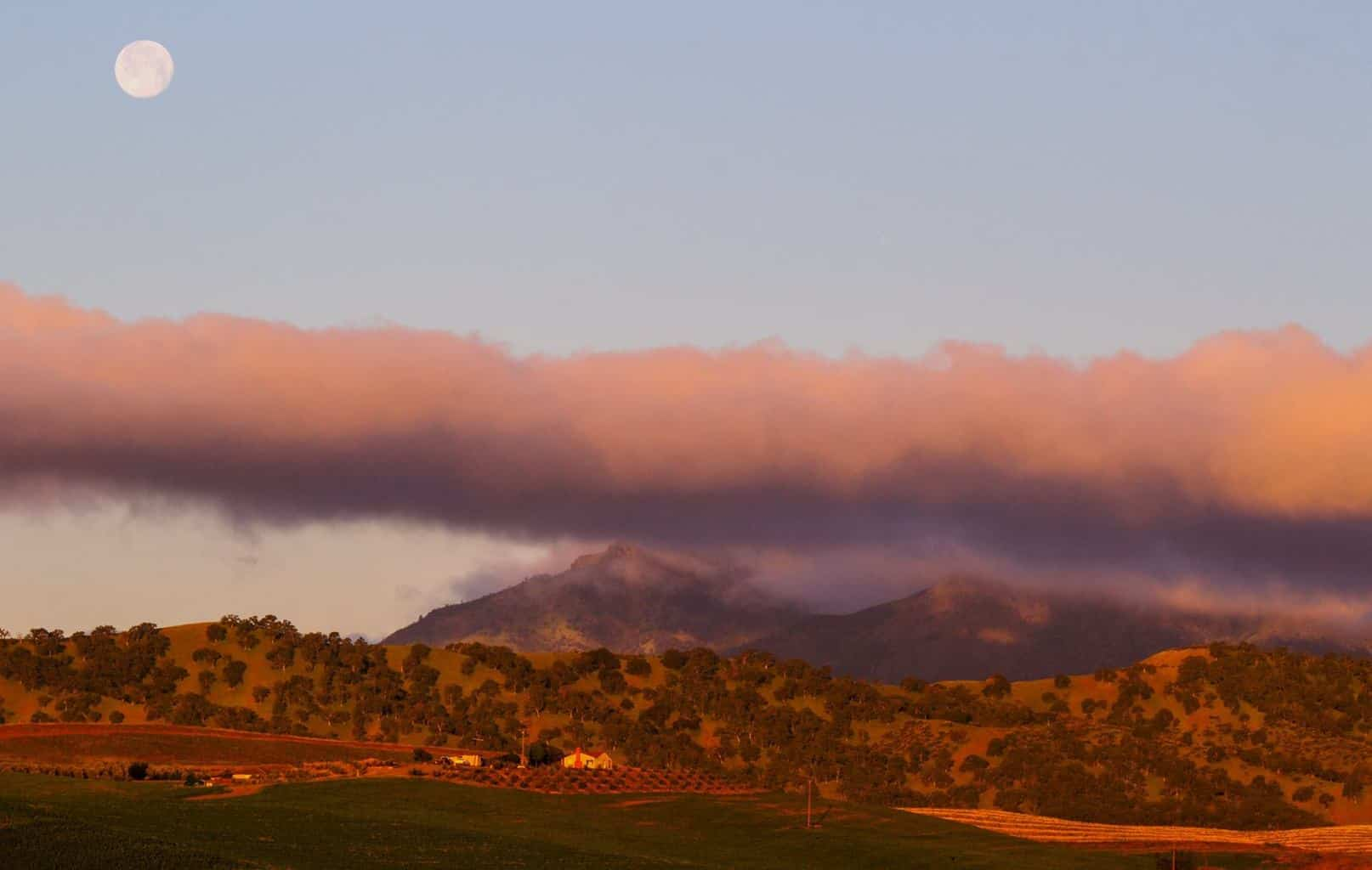 This mornings moonset with clouds hugging the top of Mt. Diablo.