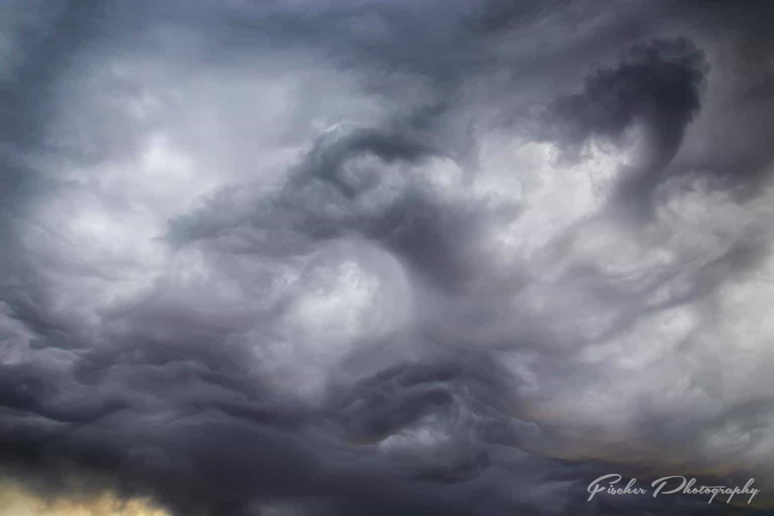 """Dragon Skies"" - formations in undulatus asperatus clouds over the Plano Balloon Festival last year."