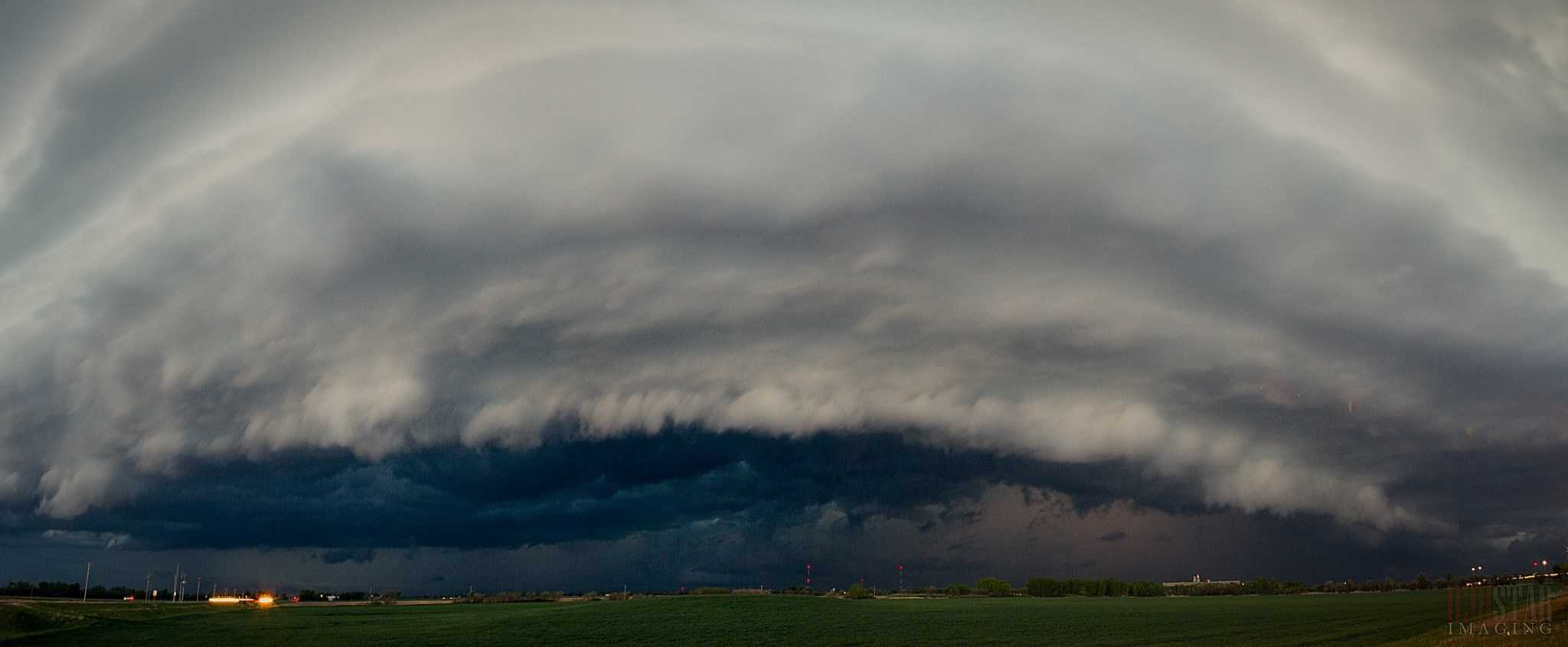 3 image pano of a severe warned cell over Salina, Kansas on April 24th, 2015