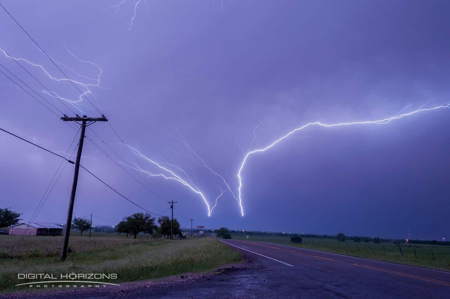My final positive lightning strike that I will be posting from a severe thunderstorm near Bruceville-Eddy, TX on 4-27-2016. Look at the intensity of those bolts and the length of the one on the right. This a single frame not cropped or stacked. It was an awesome sight to see.