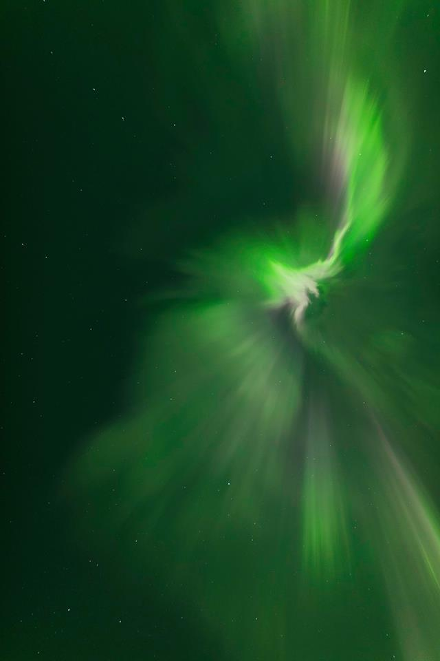While smoke from Fort McMurray Alberta smothered the clarity of the atmosphere in southern Saskatchewan I still attempted to capture images during the Strong (G3) geomagnetic storm. This is one image I captured directly overhead at 2:14am CST, Mother's Day morning. It was a difficult shoot, I was out there over three hours trying to get something.