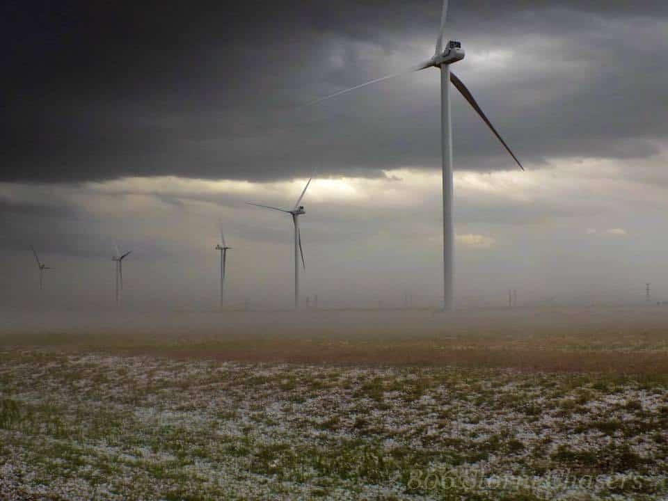 Hail fog and a wind farm creates an eery scene near Plainview Tx on 4-28-16