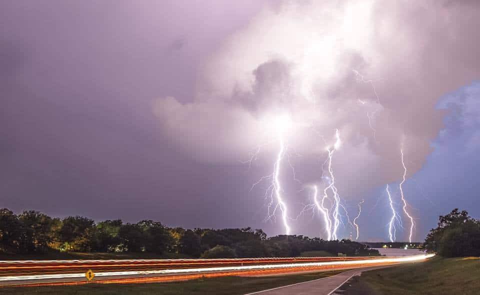 Lightning on I40 near Lake Eufaula last Tuesday Night.