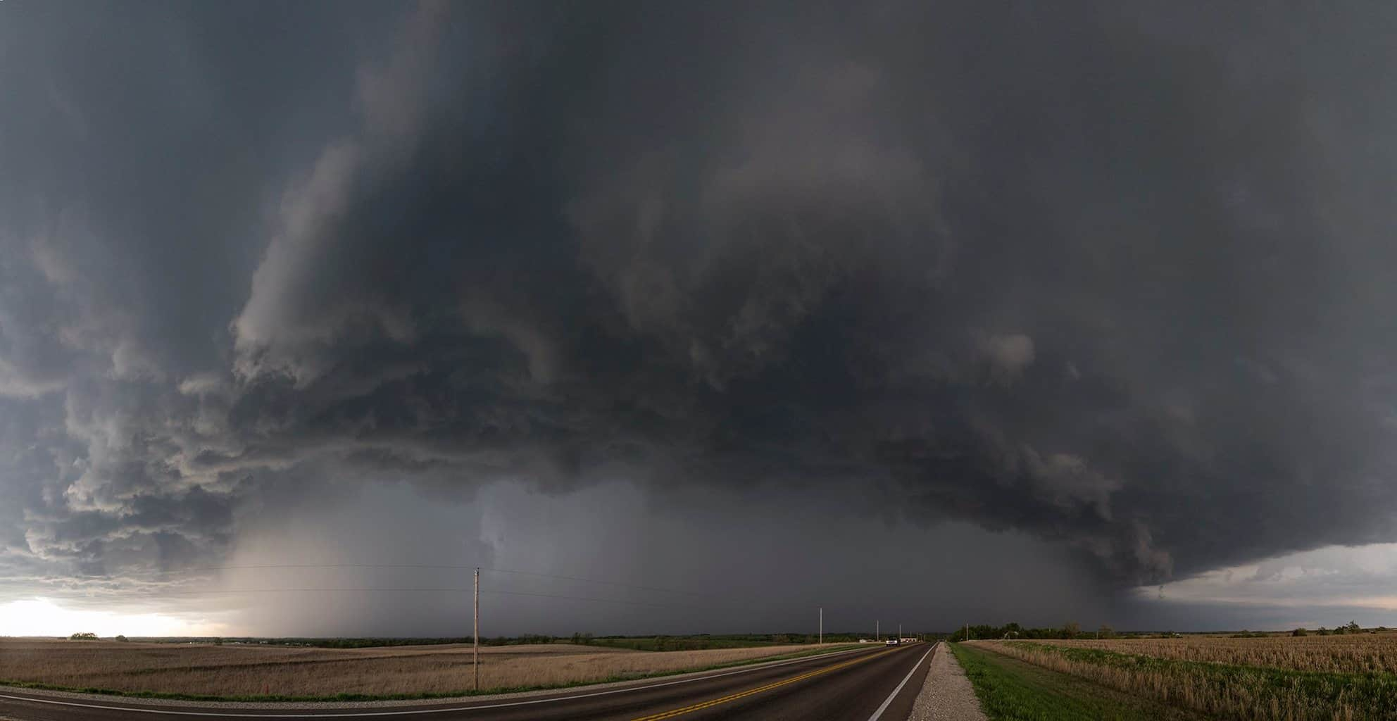 Storm north of Abilene, KS yesterday. Shortly before this shot was taken, we drove into the core and collected some tennis ball sized hail northeast of Salina.