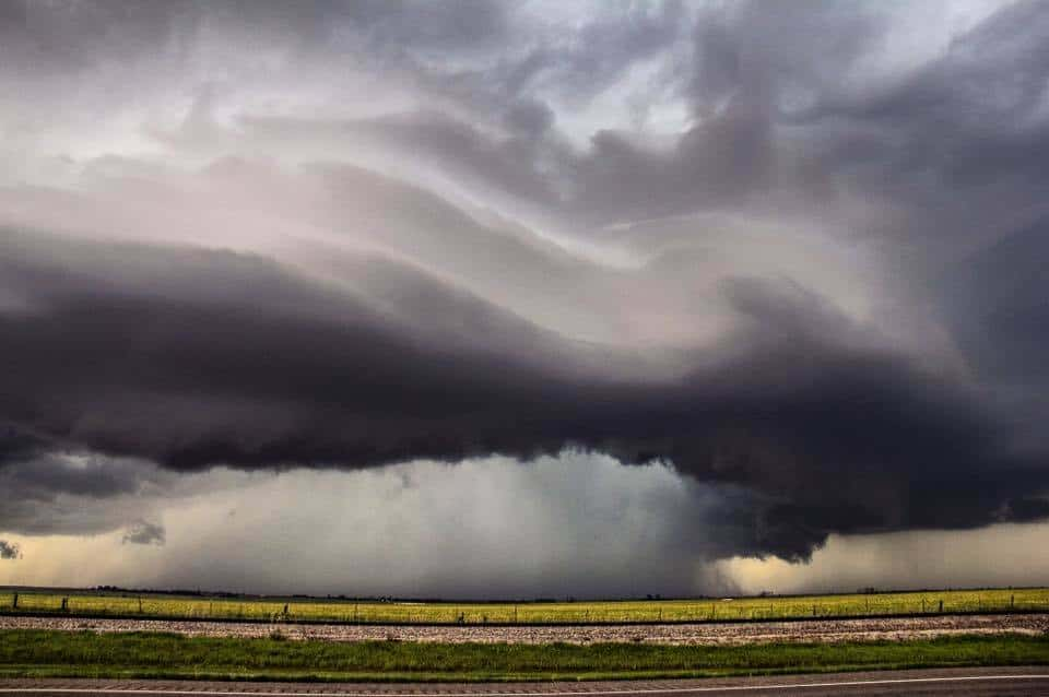 Menacing structure with this supercell storm near Snyder, Oklahoma. - 4/26/16