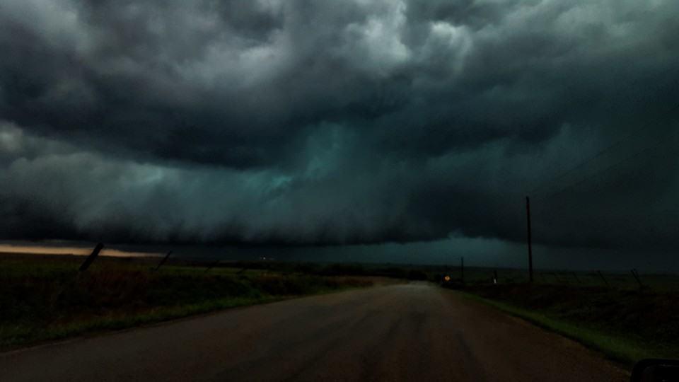 """Kansas monster ""  Taken 30 minutes ago in eastern central Kansas nw of Alta vista."