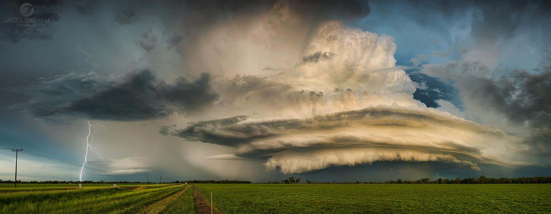 The Woolner Station Supercell from 18th Feb 2015. Darwin Region, Northern Territory Australia. Stitched Panorama with bonus CG