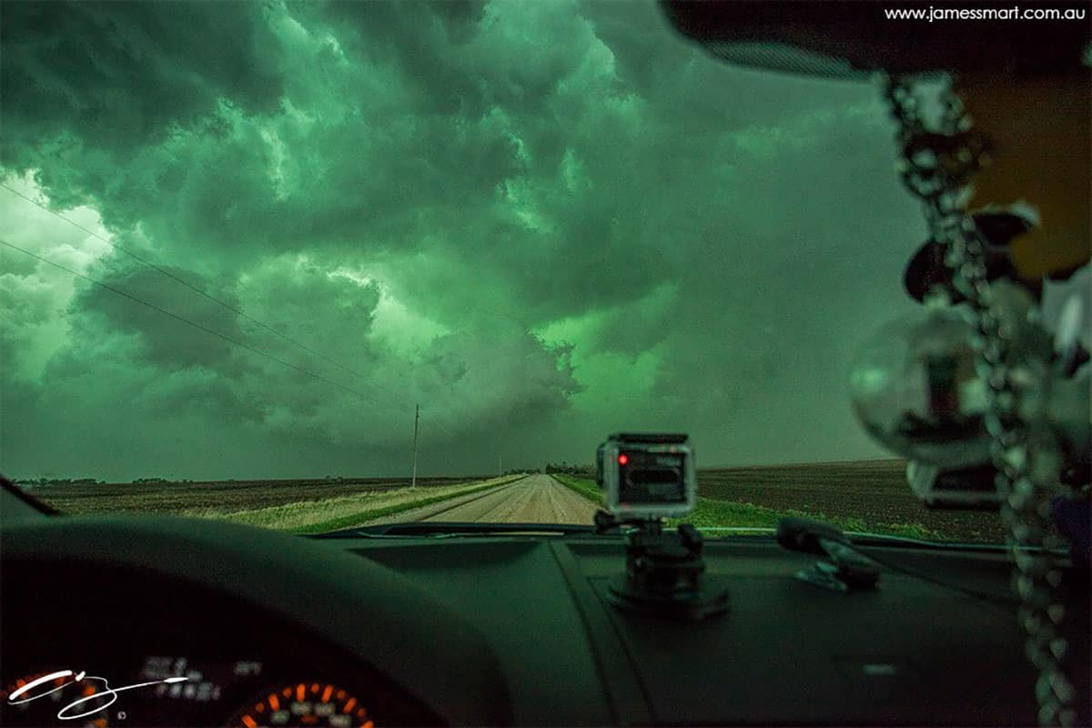 Into the Green... Hail Core Near Steward, Nebraska 2014.