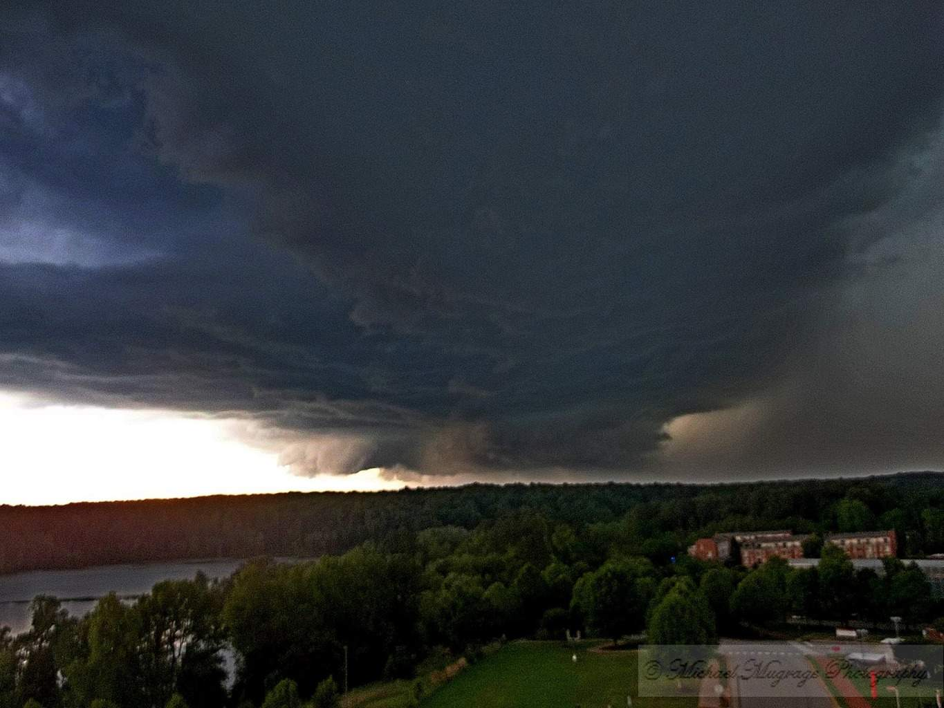 "Raleigh, NC supercell thunderstorm on April 28th, 2016. This storm ended up producing 2.00"" diameter hail later on in its life along with damaging winds. This was taken on top of James B Hunt Library at NC State University. One of the best supercell structures I had seen on a storm in NC."