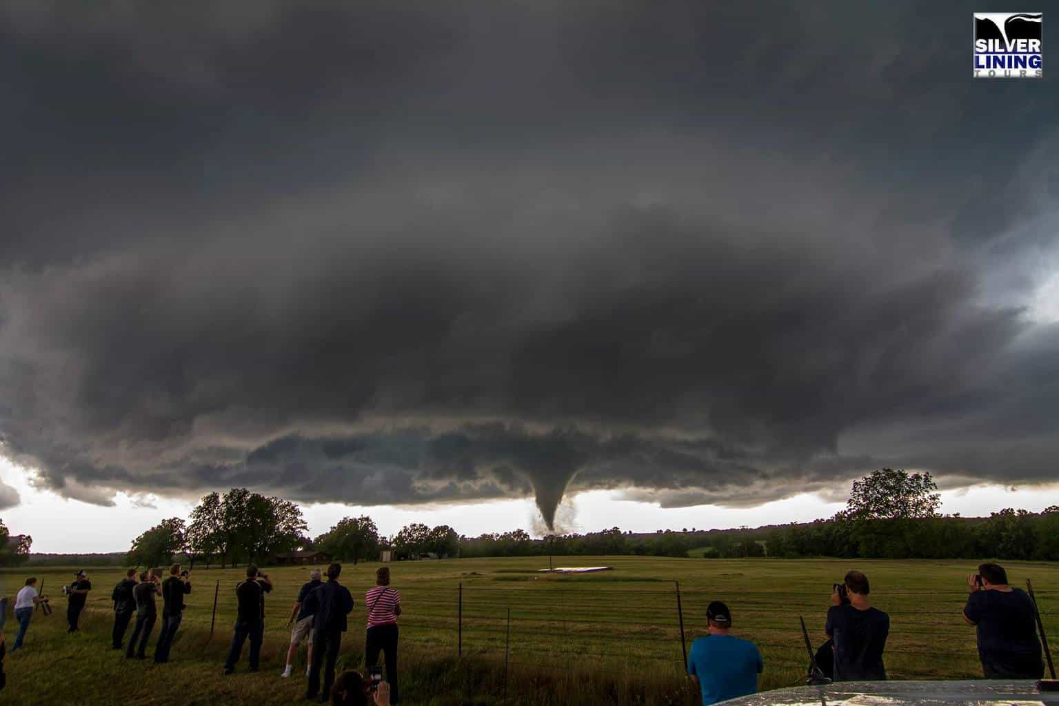 Silver Lining Tours observing a tornado in Wynnewood, OK on May 9th 2016.