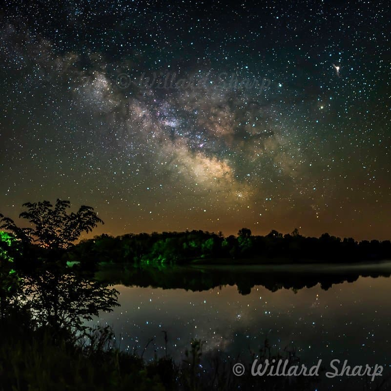 A star filled night on May 13, 2016 down in southern Iowa at Bob White State Park. It was a beautiful and clam night with only the owls breaking the silence of the night. This is a 2 shot panorama of the sky and lake. I love the reflections of the Milky Way and a little fog out on the water at the time of the shot. This was taken with a Nikon D750 with a Rokinon 24mm lens. Shutter time 15 seconds, aperture f/1.4, and ISO 1250. I have many Milky Way photos in my collection and I feel this is by far my best looking one as far as details that can be seen in the Milky Way.