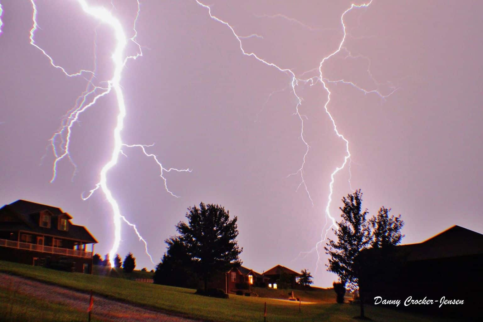 I went inside after this one. It was a little too close for comfort. It lit the whole neighborhood up. — in Wardsville, Missouri.