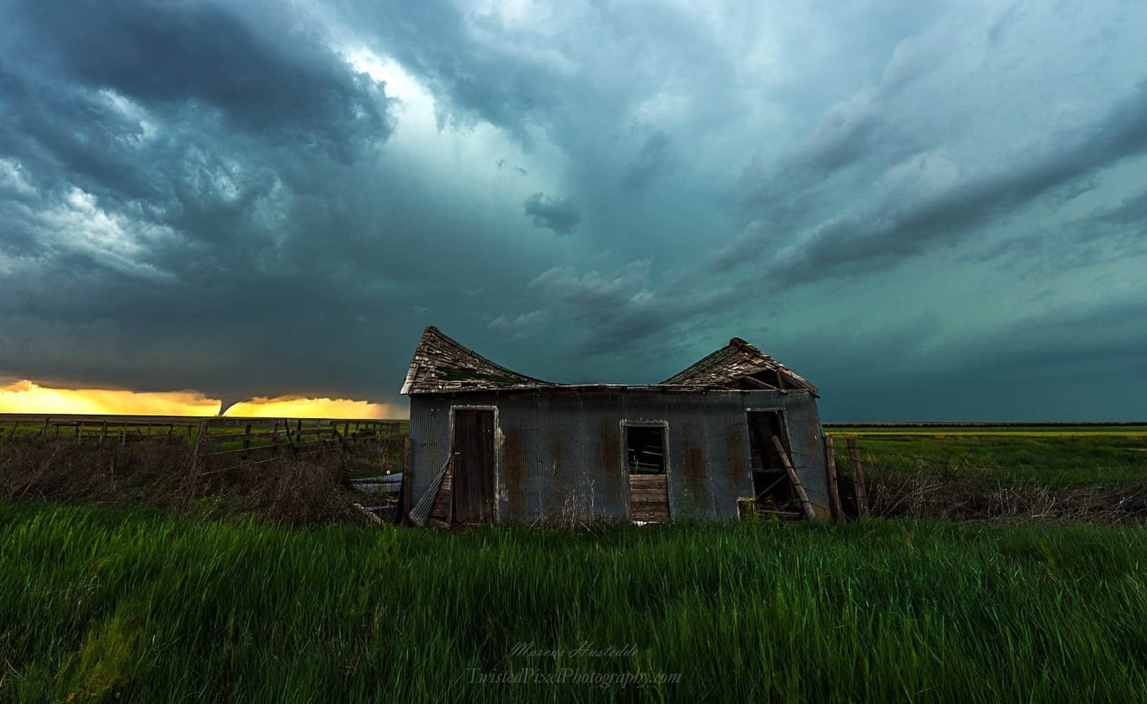 """Horizon Danger""...one of many tornadoes witnessed on 5-24-16 north of the obvious Dodge City target near Ness City, KS...was fortunate enough to find this abandoned structure right as the tornado was forming...shot at 14 mm full frame."