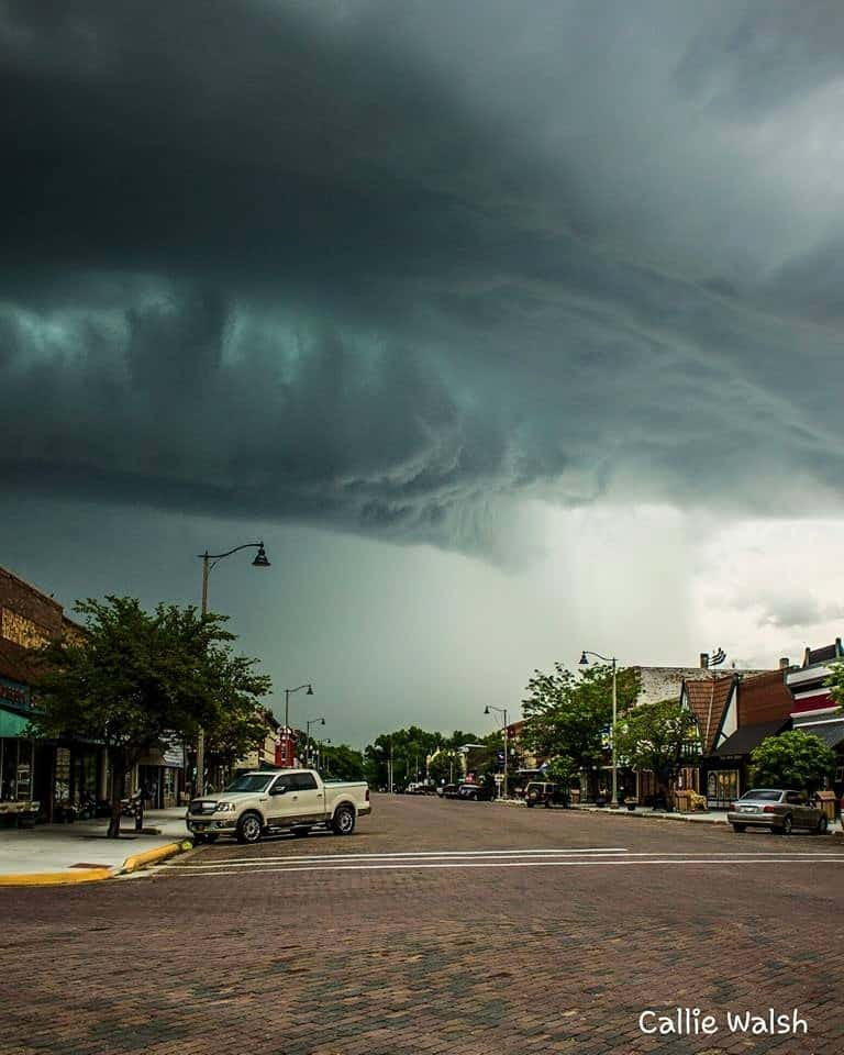 Golf ball sized hail arrived shortly after I took this photo. View of downtown Lindsborg, KS. 5-26-16
