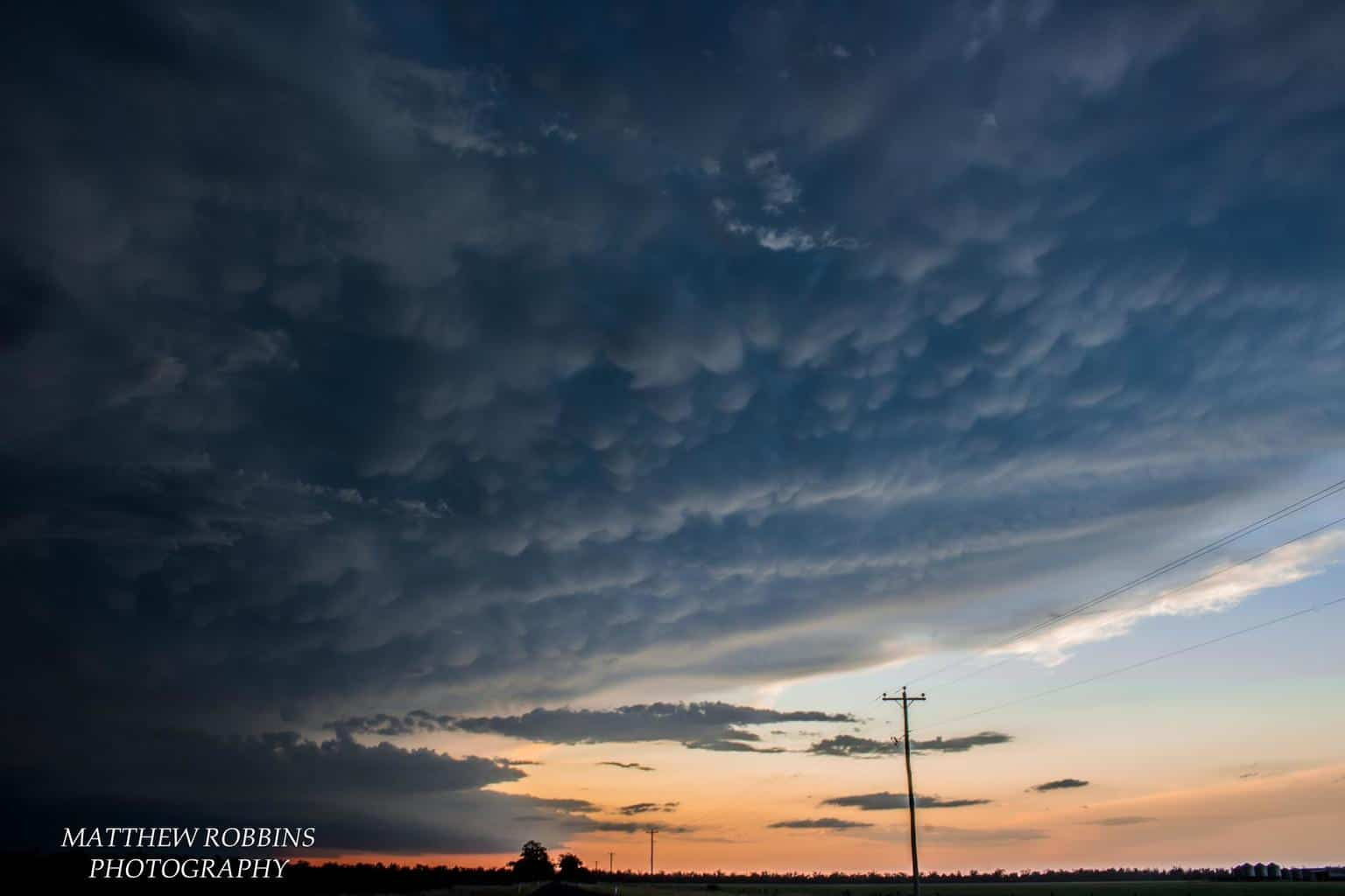 A mammatus filled anvil on an HP Supercell produces a photogenic sunset scene. 22nd November, Cecil Plains, QLD, Australia.